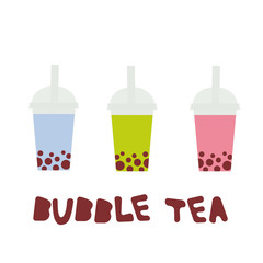 Bubble Tea with different fruits and berries. Milk Cocktails in plastic cup, tubule. Different sorts of Bubble Tea Cocktails. pastel colors isolated on white background. Vector