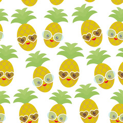 Seamless pattern cute funny kawaii exotic fruit pineapple with sunglasses on white background. Hot summer day, pastel colors card design, banner template. Vector