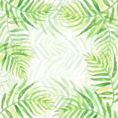 Spoed Fotobehang Tropische Bladeren Watercolor Palm leaf background. Green on white watercolor hand drawn illustration. Green tropical palm leaf. watercolor watercolor card, postcard, invitation