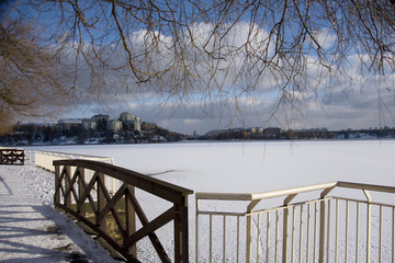 A snowy, cold and sunny view of the island Kungsholmen in Stockholm