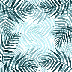 Watercolor Palm leaf background. blue on white watercolor hand drawn illustration. blue tropical palm leaf. watercolor watercolor card, postcard, invitation