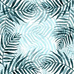 Keuken foto achterwand Tropische Bladeren Watercolor Palm leaf background. blue on white watercolor hand drawn illustration. blue tropical palm leaf. watercolor watercolor card, postcard, invitation