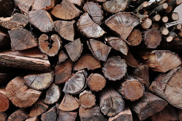 Firewood background, Pile of firewood