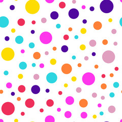 Memphis style polka dots seamless pattern on white background. Awesome modern memphis polka dots creative pattern. Bright scattered confetti fall chaotic decor. Vector illustration.
