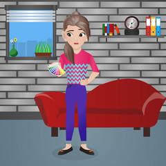 Female Interior Designer Holding Color Palette