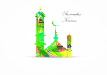 Ramadan Kareem greeting card with a grunge colored mosque silhouette