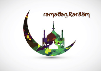 Grungy Ramadan Kareem Greeting Card. Colorful crescent moon with mosque illustrated in this graphic.