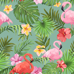 Seamless pattern with tropical plants and colorful flamingos