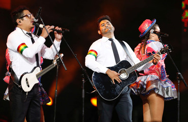 """Bolivian group Los Vidaleros, performs during the folklore category with the song """"La Reina"""", during the 59th International Song Festival in Vina del Mar"""