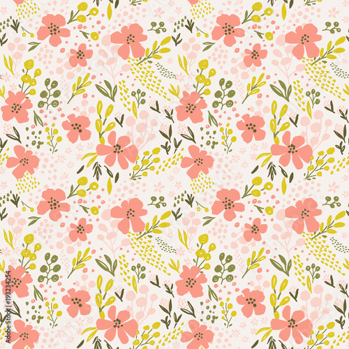 """""""Nice Vector Seamless Flower Pattern. Endless Background"""