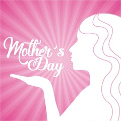 mothers day cute silhouette woman kiss vector illustration