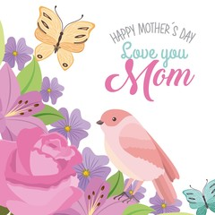happy mothers day love mom bird butterfly romantic flowers vector illustration