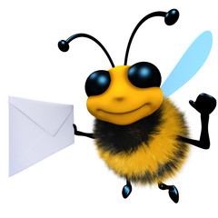 3d Funny cartoon honey bee character holding an envelope message