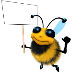 3d Funny cartoon honey bee character holding a blank placard