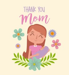 mothers day card mom holding baby with flower decoration vector illustration