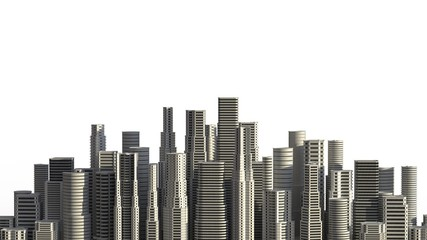 Skyscrapers isolated on white background. 3D illustrating.