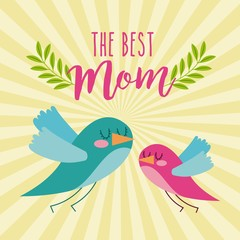 the best mom cute flying birds card icon vector ilustration