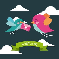 cute birds flying with envelope in beak mothers day message icon vector ilustration