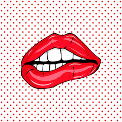 Sexy sweet red clossy lips, Open Sexy wet red lips with teeth Pop art colorful design, pattern and background, vector illustration