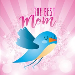 blue bird the best mom abstract stripes circles bright icon vector ilustration