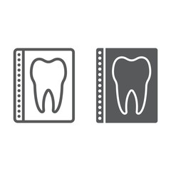 Dental x-ray line and glyph icon, stomatology and dental, radiology sign vector graphics, a linear pattern on a white background, eps 10.