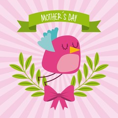 cute bird flying bow branches mothers day striped background icon vector ilustration