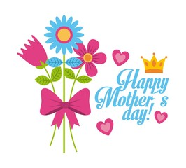 bouquet flowers natural bow decoration happy mothers day icon vector ilustration