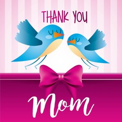 thank you mom birds pink stripes background icon vector ilustration