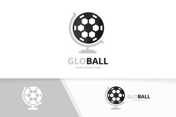 Vector soccer and globe logo combination. Ball planet symbol or icon. Unique football logotype design template.