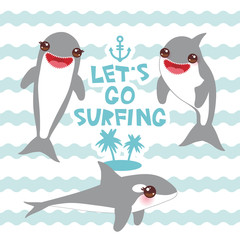 Lets go surfing Cartoon dolphin set. Kawaii with pink cheeks and positive smiling on blue waves sea ocean background. banner template, card design. Vector