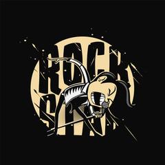 Minimal logo of rock star vector illustration design.