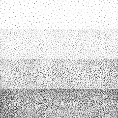 Halftone gradient with random dots. Abstract monochrome pointillist, speckled background. Texture with randomly disposed spots. Raster copy illustration