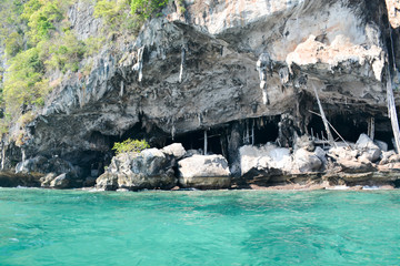 Coast of the island of Phi Phi.Azure water.Thailand