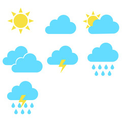 weather symbol icon set isolated vector