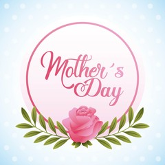 mothers day card in the round frame rose floral greeting vector illustration