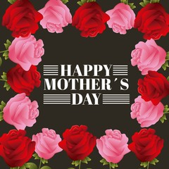red and pink roses frame lettering happy mothers day black background vector illustration