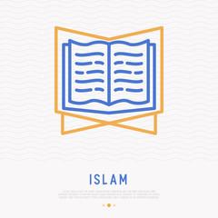 Koran thin line icon. Modern vector illustration of holy book.