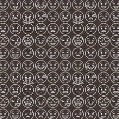 outlined smile emoticons set differents emoji black background vector illustration
