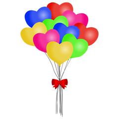 Balloon. Bound multicolored balloons.