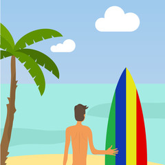 Surfing. A man is holding a surfboard against the background of the ocean.