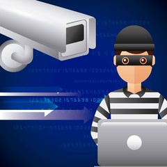 thief hacking in laptop cyber data camera vector illustration
