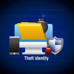 theft identity computer digital technology virus mobile vector illustration