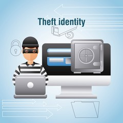 theft identity hacker laptop computer safe box money digital vector illustration