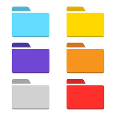 colorful folder icon set isolated vector