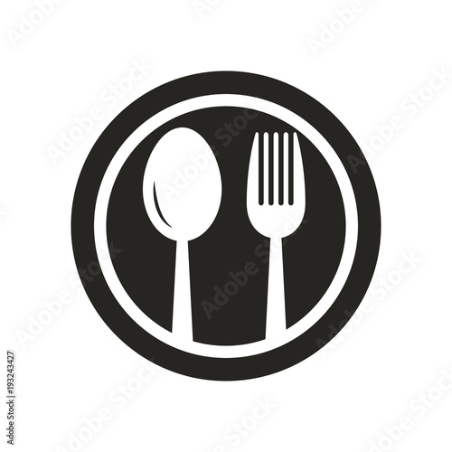quotspoon and fork on plate logo black and white spoon and