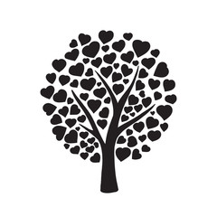 Love tree with hearts shaped leaf on white background. Nature. Beautiful vector monochrome silhouette illustration.