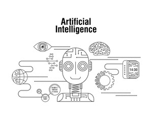 artificial intelligence globe gear eye technology vector illustration thin line image