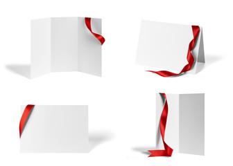 folded leaflet red ribbon bow paper template book desktop calendar