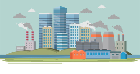 Old factory with smoke and pollution. City landscape, ecological concept. Vector illustration in flat style, design template