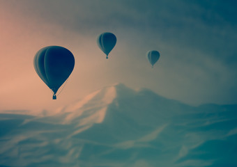 Fantastic Misty Landscape. heaven silhouette air balloon flying in the mountains. journey aerostat at sunset. view high peaks.